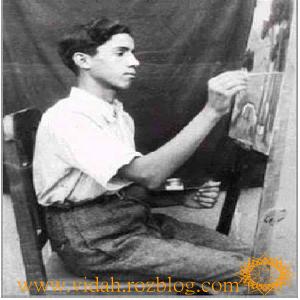 سهراب سپهری در حال نقاشی